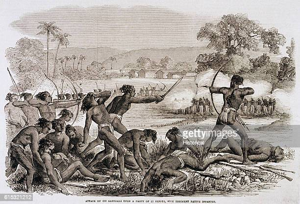 An attack by a Santhal party on Sepoys in the 40th Regiment Native Infantry