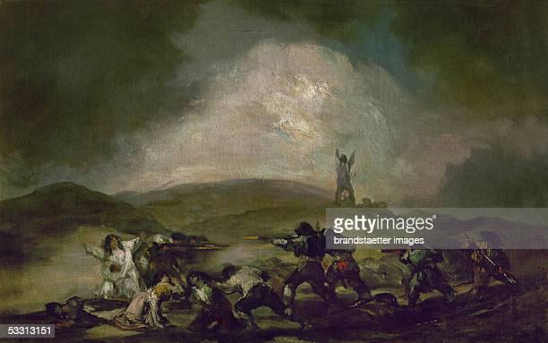 An attack by bandits Oil on canvas [Angriff der Banditen Gemaelde]