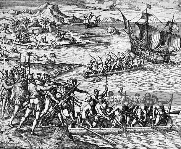 An attack by Indians La Herradura engraving The Spanish and Indians attack Sir Francis Drake s men in the Bay of La Herradura FD Elizabethan English...