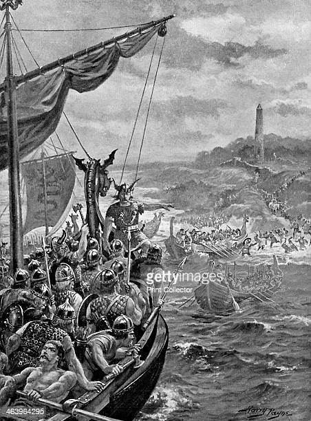 An attack of the Danes on Ireland 9th century AD Illustration from Story of the British Nation Volume I by Walter Hutchinson