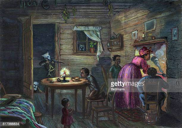 A visit of the Ku Klux Klan Negro family being attacked in their home Colored drawing Undated illustration