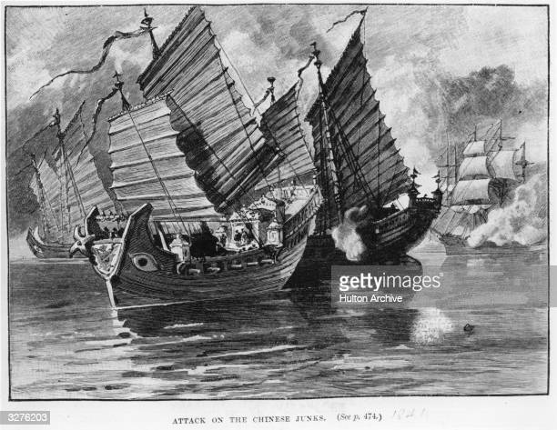 An attack on the Chinese junks during the First Opium War