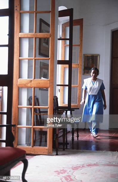 An attendant walks through the hallway of the Hotel de L'Orient in Pondicherry a former French colony near Chennai in southern India Home to a...