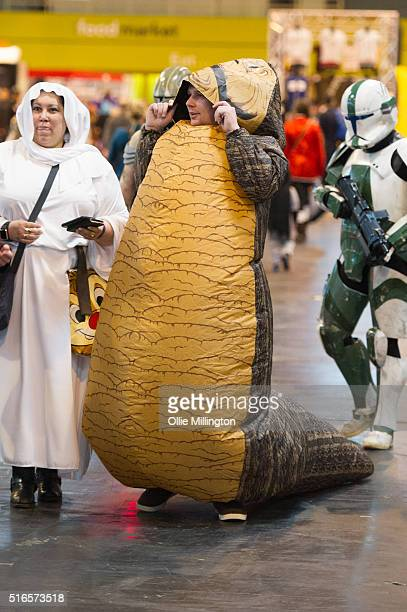 An attendee at Comic Con 2016 in cosplay as Jabba the Hutt from Star Wars on March 19 2016 in Birmingham United Kingdom