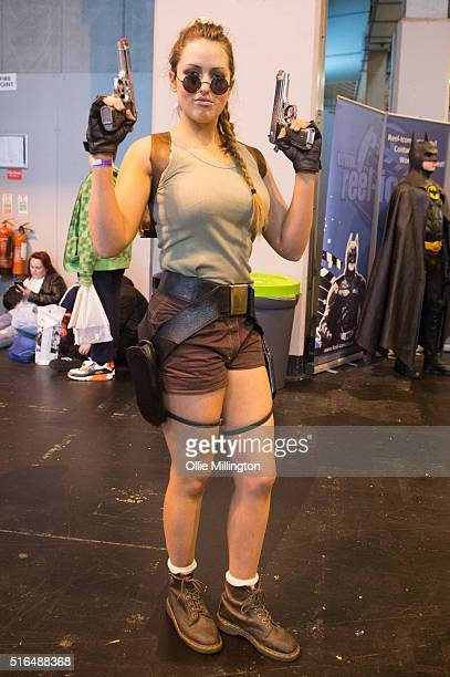 An attendee at Comic Con 2016 in cosplay as Lara Croft on March 19 2016 in Birmingham United Kingdom