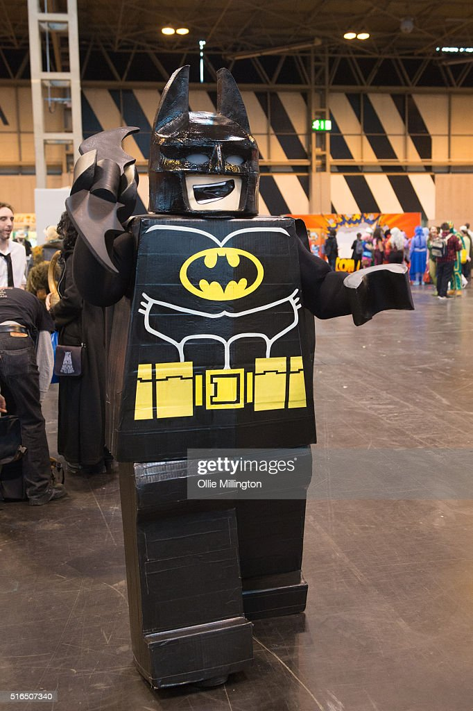 An attendee at Comic Con 2016 in cosplay as Lego Batman on March 19, 2016 in Birmingham, United Kingdom.