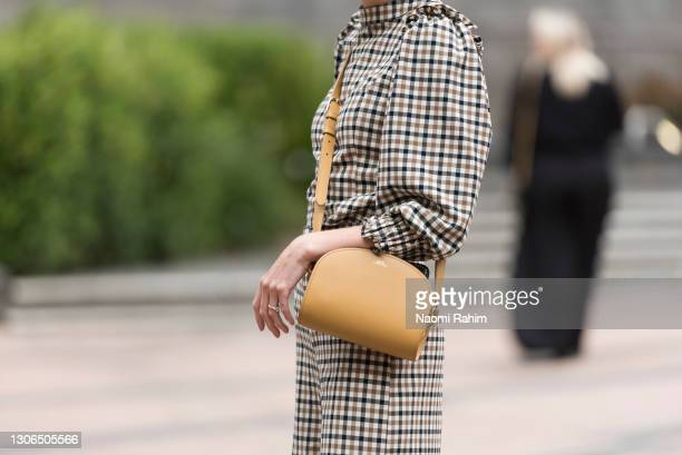 An attendee at Melbourne Fashion Festival at National Gallery of Victoria on March 11, 2021 in Melbourne, Australia.