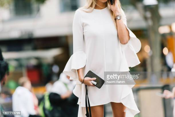An attendee at Melbourne Fashion Festival at National Gallery of Victoria on March 17, 2021 in Melbourne, Australia.