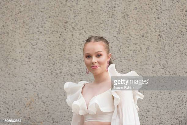 An attendee at the Melbourne Fashion Festival at the National Gallery of Victoria on March 11, 2021 in Melbourne, Australia.