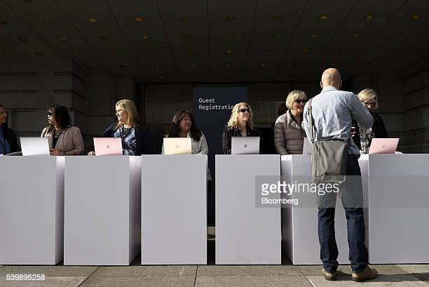 An attendee checks in for the Apple World Wide Developers Conference in San Francisco California US on Monday June 13 2016 Apple Inc has lost ground...