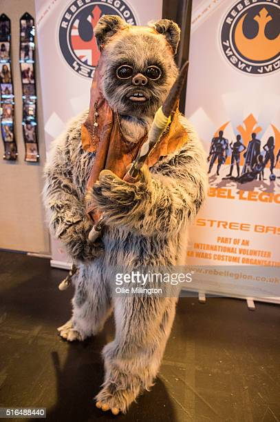 An attendee dressed as a Ewok from Star Wars at Comic Con 2016 in cosplay on March 19 2016 in Birmingham United Kingdom