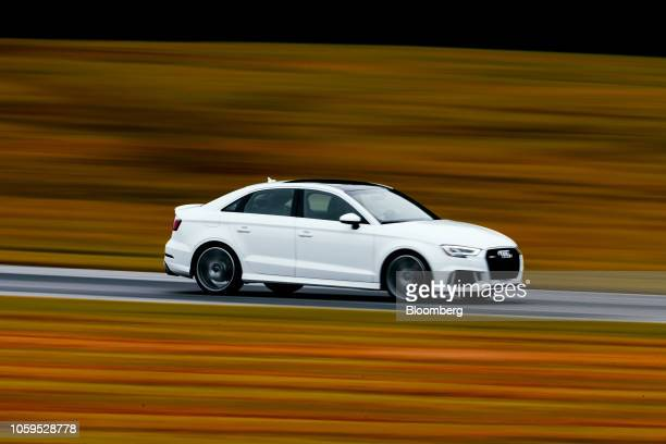 An attendee drives an Audi vehicle during the Primland Racing Experience hosted by Harold Primat at the Virginia International Raceway in Meadows Of...