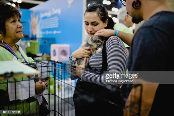 An attendee holds a cat in the adoption center at CatCon Worldwide 2018 at Pasadena Convention Center on August 4 2018 in Pasadena California