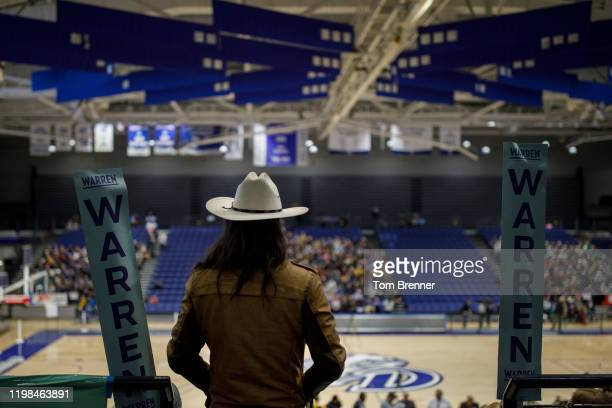 An attendee looks out at caucus attendees during a caucus event in the 68th precinct on February 3 2020 at Drake University in Des Moines Iowa United...