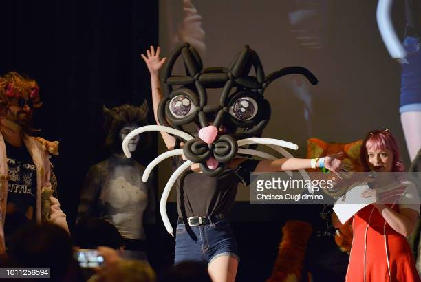 An attendee participates in the Furrocious Fashion Face Off at CatCon Worldwide 2018 at Pasadena Convention Center on August 4 2018 in Pasadena...