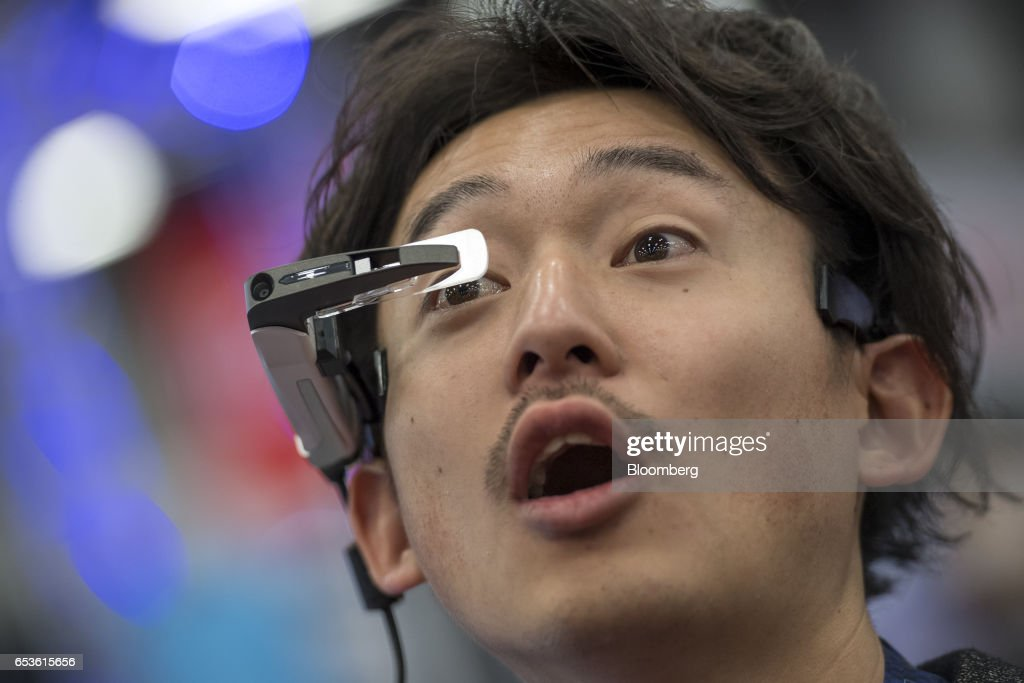 An attendee reacts as he uses the Telepathy Walker headset made by Telepathy Japan Inc., at the 2017 South By Southwest (SXSW) Interactive Festival at the Austin Convention Center in Austin, Texas, U.S., on Tuesday, March 14, 2017. The SXSW Interactive Festival features a variety of tracks that allow attendees to explore what's next in the worlds of entertainment, culture, and technology. Photographer: David Paul Morris/Bloomberg via Getty Images