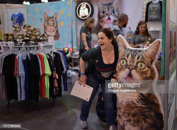 An attendee seen in the Lil Bub booth at CatCon Worldwide 2018 at Pasadena Convention Center on August 4 2018 in Pasadena California
