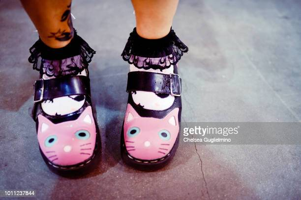 An attendee shoe detail seen at CatCon Worldwide 2018 at Pasadena Convention Center on August 4 2018 in Pasadena California