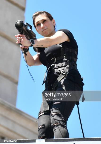 An attendee shoots a stunt launcher F9 Fest at the F9 Fest event on the Universal Studios backlot celebrating F9: The Fast Saga on September 15, 2021...