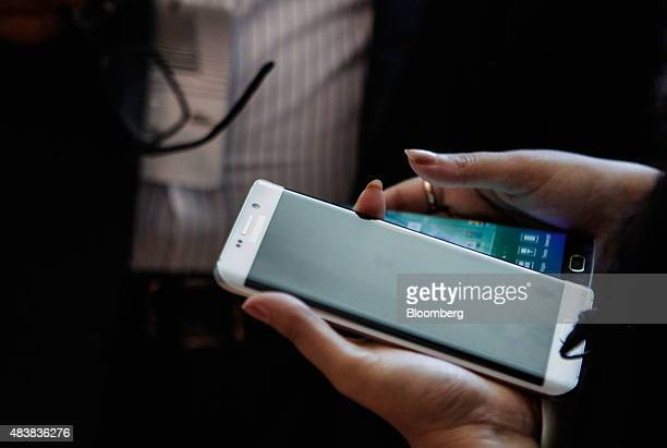 An attendee views the Samsung Electronics Co Galaxy S6 Edge Plus smartphone during the Samsung Unpacked 2015 event in New York US on Thursday Aug 13...