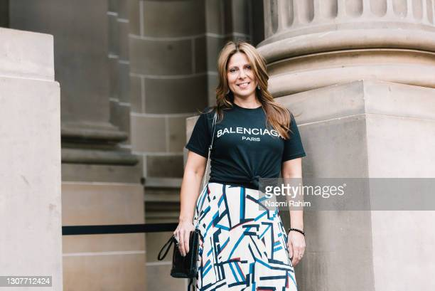 An attendee wears a Balenciaga t-shirt at Melbourne Fashion Festival at National Gallery of Victoria on March 17, 2021 in Melbourne, Australia.