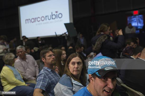 An attendee wears a Carolina Panthers hat while waiting for the arrival of Senator Marco Rubio a Republican from Florida and 2016 presidential...