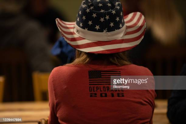 An attendee wears a tshirt that reads Deplorable 2016 during a 2020 US presidential election night 'Trump Re Election' watch party at Huron Valley...