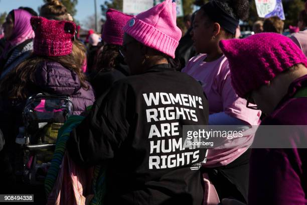 An attendee wears a tshirt that reads 'Women's Rights Are Human Rights' before entering the Sam Boyd Stadium during the Women's March OneYear...