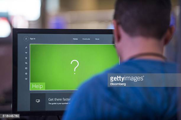 An attendee works in the coding competition booth at the Microsoft Developers Build Conference in San Francisco California US on Thursday March 31...