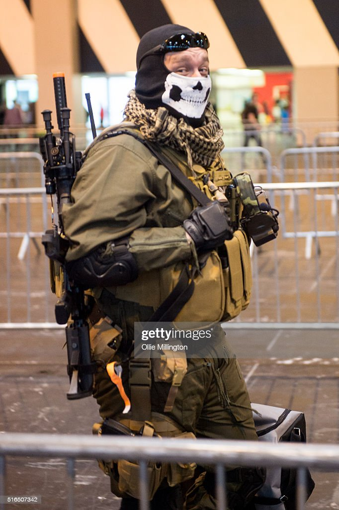 An attendees at Comic Con 2016 in cosplay as a soldier from multiplayer Call of Duty on March 19, 2016 in Birmingham, United Kingdom.