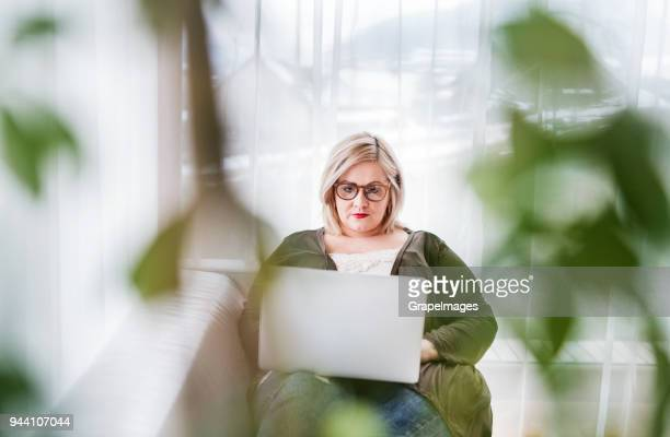 an attractive overweight woman at home, working on a laptop. - fat blonde women stock photos and pictures