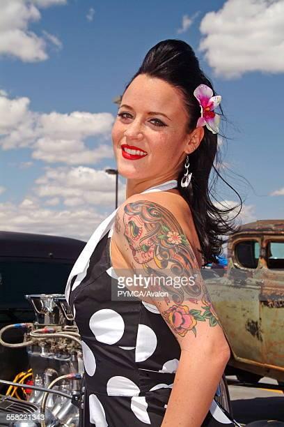d6b6bf2f1bac An attractive Rockabilly girl posing infront of a Hotrod car Viva Las Vegas  Festival Las Vegas