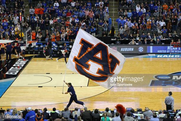 An Auburn Tigers flag flies on the court before the NCAA Midwest Regional Final game between the Auburn Tigers and Kentucky Wildcats on March 31 2019...