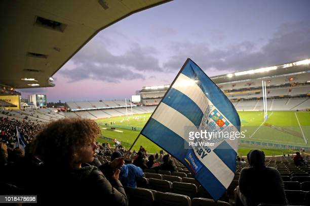 An Auckland fan during the round one Mitre 10 Cup match between Auckland and Counties Manukau at Eden Park on August 18 2018 in Auckland New Zealand