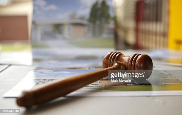 An auctioneer's gavel is seen prior to the home auction for a fourbedroom house at 230 Blacktown Road on February 14 2015 in Blacktown Australia The...