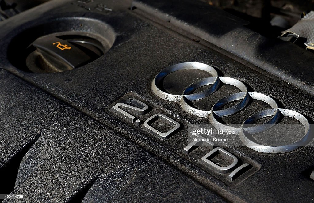 An Audi 2.0 TDI Diesel engine is pictured inside an Audi A3 car on September 29, 2015 in Neustadt am Rubenberge, Germany. Car manufacture Audi holding has released a statement this morning, saying 2.1 million Audi cars globally, fittited with their 1.6 TDI engines or their 2.0 TDI engines, are affected by the Volkswagen emission scandal. These engines were mainly built into their A1, A3, A4, A6, as well as Q3 and Q5 models, with 577.000 cars affected in Germany and 13.000 in North America. Former Volkswagen CEO Martin Winterkorn resigned on Wednesday following charges by the U.S. Environmental Protection Agency that Volkswagen had installed software into its diesel cars sold in the U.S. that manipulates emissions test results.