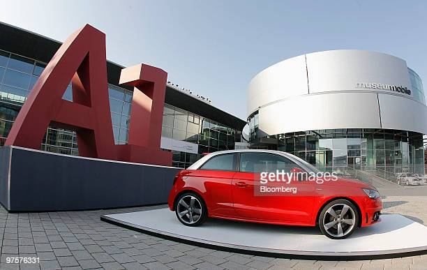 An Audi A1 automobile sits on display during the company's full year earnings press conference in Ingolstadt Germany on Tuesday March 9 2010...