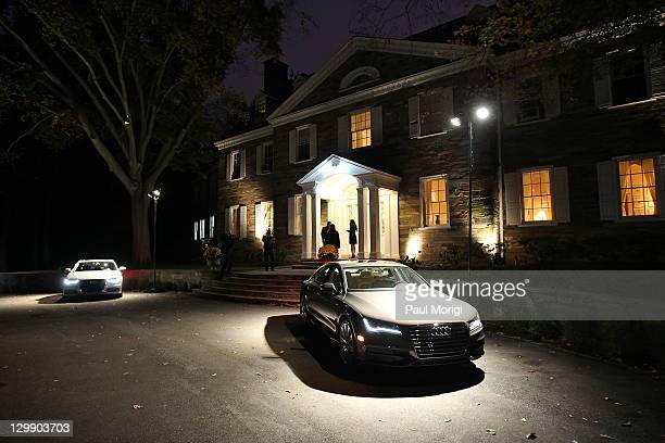 An Audi A6 and an Audi A7 outside a reception for the Audi Best Buddies Challenge hosted by His Excellency Harold W Forsyth Ambassador of Peru at a...