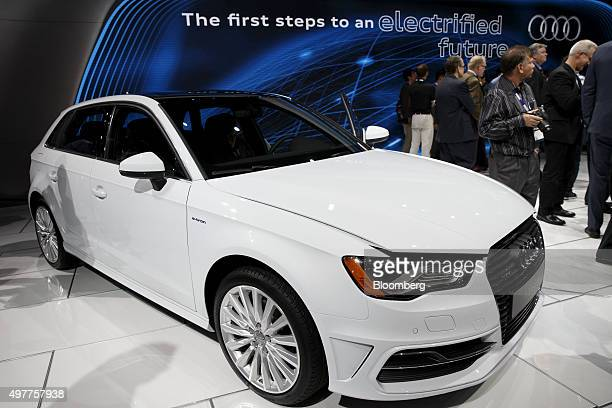 An Audi AG A3 etron vehicle is displayed during the Los Angeles Auto Show in Los Angeles California US on Wednesday Nov 18 2015 The 2015 LA Auto Show...