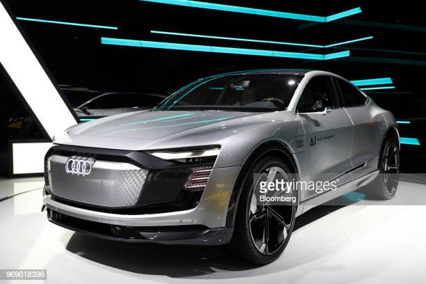 An Audi AG Elaine electric concept autonomous automobile stands on display during the press day of the 2018 Busan International Motor Show in Busan...
