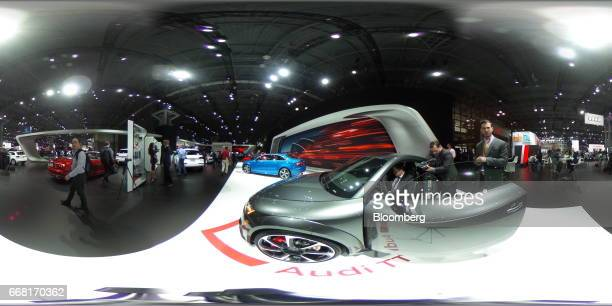 An Audi AG TT RS coupe vehicle sits on display during the 2017 New York International Auto Show in New York US on Thursday April 13 2017 The New York...