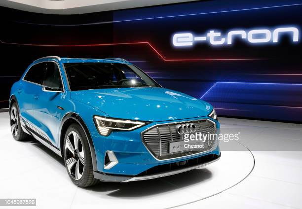 An Audi etron 5S Quatto electric automobile is on display during the second press day of the Paris Motor Show at the Parc des Expositions at the...
