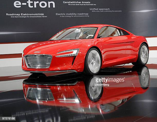 An Audi etron automobile sits on display during the company's full year earnings press conference in Ingolstadt Germany on Tuesday March 9 2010...