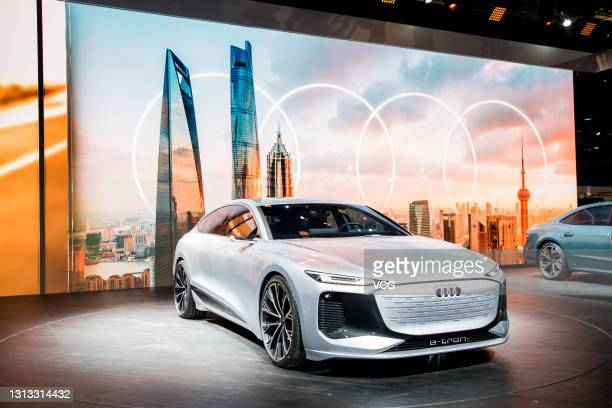 An Audi e-tron car is on display during the 19th Shanghai International Automobile Industry Exhibition, also known as Auto Shanghai 2021, at National...