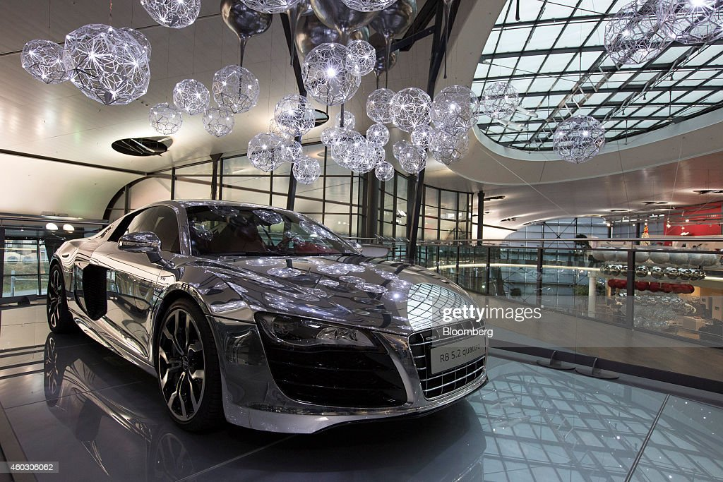 An Audi R8 5 2 Luxury Automobile Sits On Display In The Audi