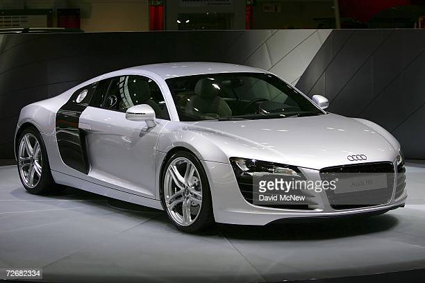 An Audi R8 is displayed during Media Days preview at the 100th annual Los Angeles Auto Show in the Los Angeles Convention Center on November 30 2006...