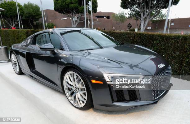 An Audi R8 is displayed during the 25th Annual Elton John AIDS Foundation's Academy Awards Viewing Party at The City of West Hollywood Park on...