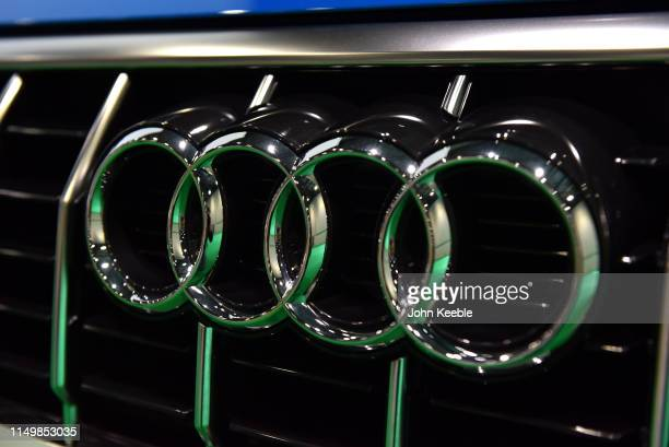 An Audi radiator badge is displayed during the London Motor and Tech Show at ExCel on May 16 2019 in London England The London Motor Tech Show is the...