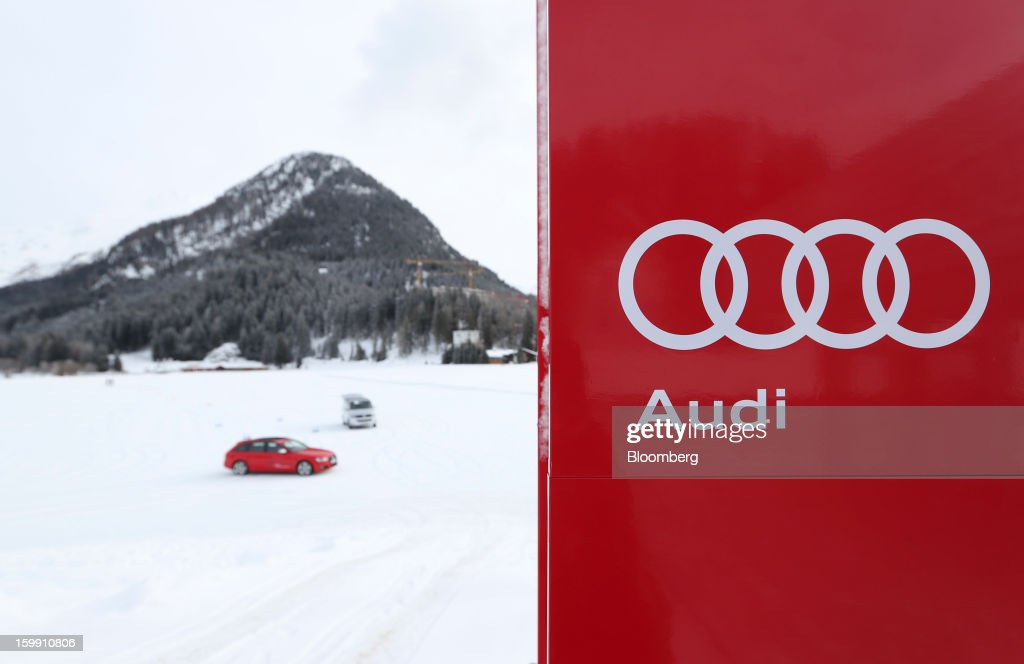 An Audi S4 automobile, produced by Audi AG, is driven across the ice track as part of the Audi driving experience during the World Economic Forum (WEF) meeting in Davos, Switzerland, on Tuesday, Jan. 22, 2013. World leaders, influential executives, bankers and policy makers arrive in the Swiss Alps for the 43rd annual meeting of the World Economic Forum in Davos, the five day event runs from Jan. 23-27. Photographer: Chris Ratcliffe/Bloomberg via Getty Images