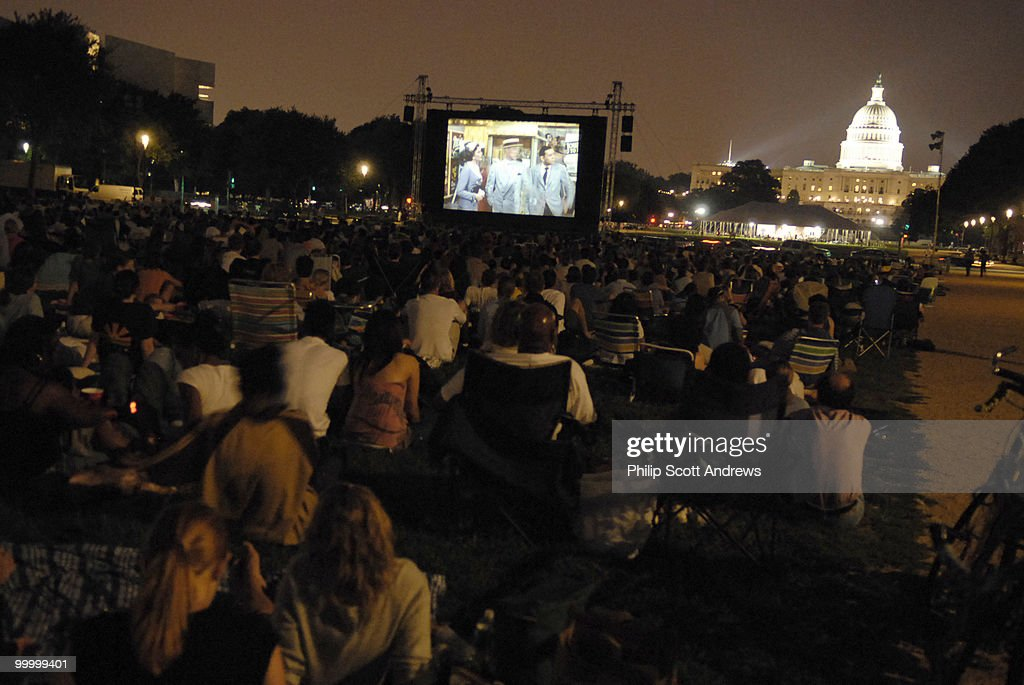 An audience gathers on the mall Screen on the Green, a summer movie series on Monday nights at sunset on the National Mall.